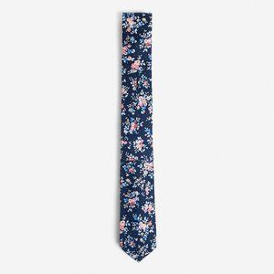 NEW! Skinny Blue Floral Patterned Silk Tie